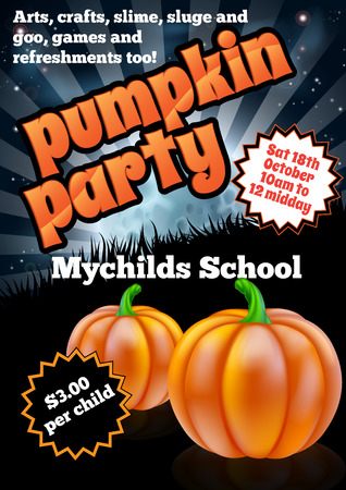 School childrens Halloween Pumpkin Party Flier invite invitation illustration Vector