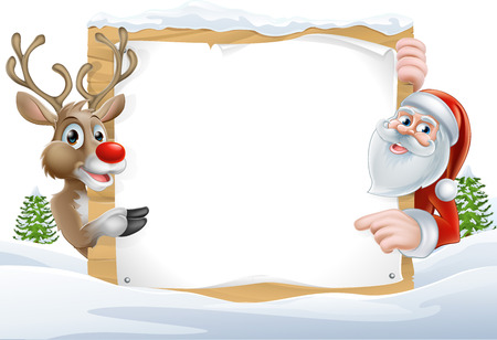 chrismas background: Cartoon Reindeer and Santa pointing at a snow covered sign in a winter landscape