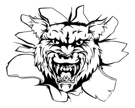ferocious: A mean looking wolf animal mascot breaking through a wall