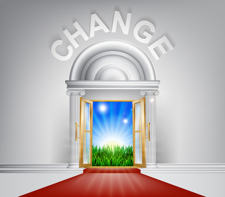 new life: A conceptual illustration of Change door entrance opening onto a field of lush green grass. Concept for a positive life change