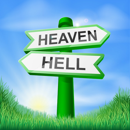hell: Heaven or Hell sign in a sunny green field of lush grass Illustration