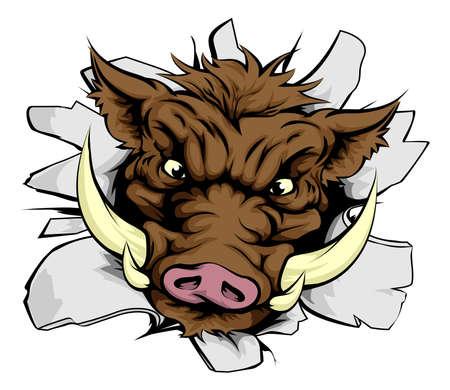 cerdos: Una ilustraci�n de un jabal� de carga a trav�s de una pared
