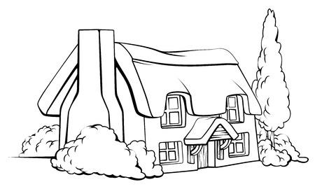 chaume: Une illustration d'une maison g�te � la ferme au toit de chaume traditionnelle idyllique Illustration