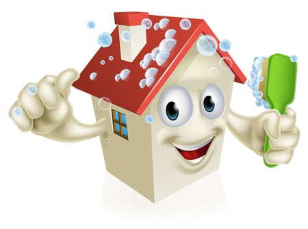 zwabber: Een illustratie van een cartoon huis schoonmaken mascotte het geven van een thumbs up en zichzelf schoonmaken met een bel bedekt borstel