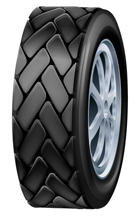 car tire: An illustration of a black rubber car tyre or tire