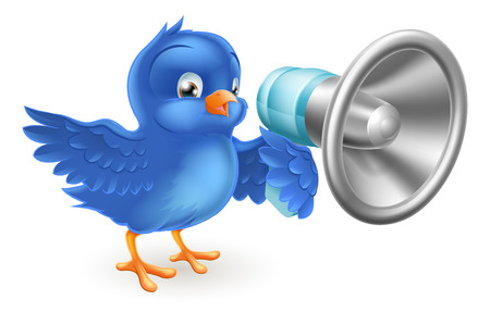 referral: A cute cartoon bluebird blue bird with a mega phone Illustration