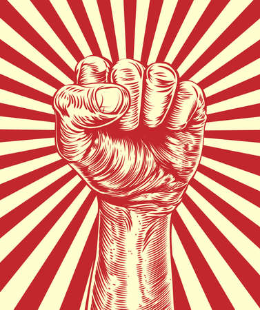 An original illustration of a revolutionary fist held in the air in a vintage wood cut propaganda style Vector