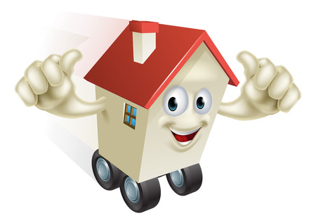 family moving house: Cartoon House on Wheels holding up both hands with thumbs up gesture