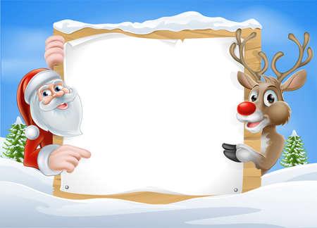 renos de navidad: Reno de la Navidad y Santa con la muestra de dibujos animados lindo del reno y Santa apuntando a un signo cubiertos de nieve en un paisaje de invierno Vectores