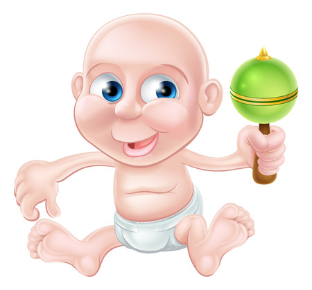 An illustration of a happy cute cartoon baby waving and playing with his toy rattle Vector