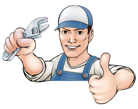 A cartoon mechanic or plumber giving a thumbs up