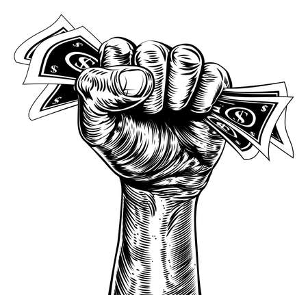 An original illustration of a fist holding money in a vintage wood cut propaganda style Vector