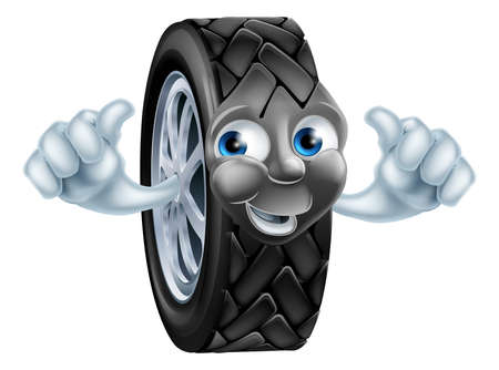 tyre tread: An illustration of a cartoon tire (tyre) character or mascot giving a thumbs up