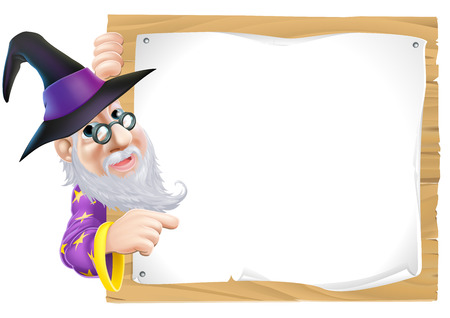 mage: Drawing of a friendly old wizard peeking round and pointing at a sign Illustration