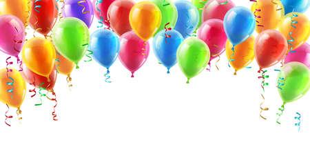 serpentinas: Globos header fondo elemento de diseño de cumpleaños o fiesta de globos
