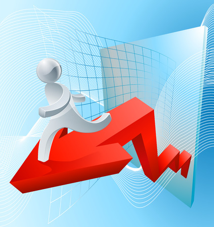 market value: A soaring market concept with a red arrow showing increasing value or success Illustration