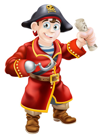 tresure: A cartoon pirate smiling with a hook and holding a scroll treasure map Illustration