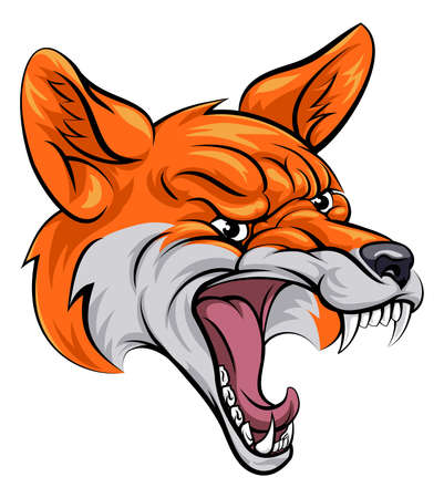 angry dog: An illustration of a fox animal sports mascot cartoon character head