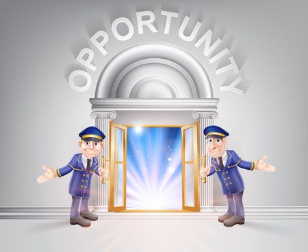 Opportunity concept of a doormen hoding open a door to opportunity with light streaming through it.
