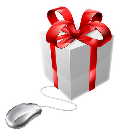 vouchers: Gift mouse online internet present shop concept of a computer mouse connected to a present. Could be concept for vouchers