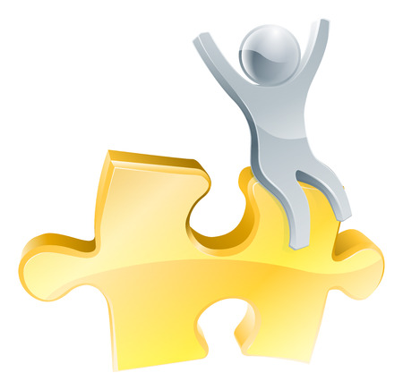 organise: Man on jigsaw piece concept of a happy mascot man with arms raised seated on a jigsaw piece Illustration