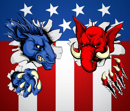 democrats: Pol�tica republicano y el dem�crata concepto de burro y el elefante mascotas furiosos frente a frente con los dem�s Vectores