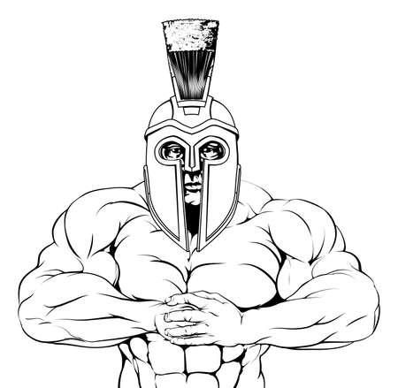 cascos romanos: Un troyano musculoso duro, espartano o gladiador car�cter de la mascota est� preparando para una pelea