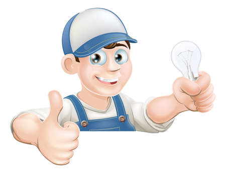 An illustration of a cartoon electrician giving a thumbs up and holding a light bulb Ilustrace