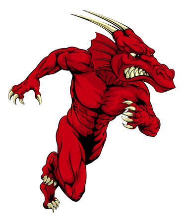 sprinting: An illustration of a mean tough looking red Dragon sports mascot sprinting