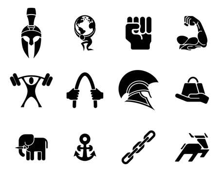 hand with dumbbells: Conceptual strength icon set of icons relating to the concept of strength or being strong
