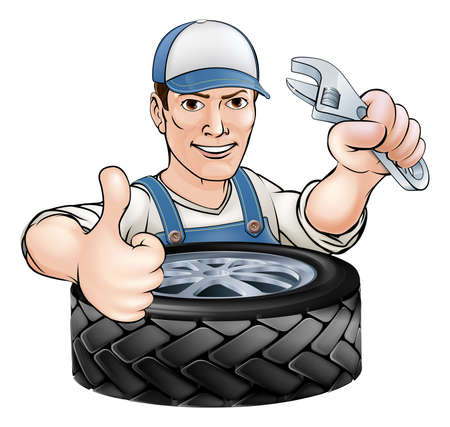 worker cartoon: Cartoon mechanic man with wrench or spanner and car tyre (tire)