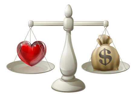 Love or money concept with love heart being weighed against money sack on scales Vector