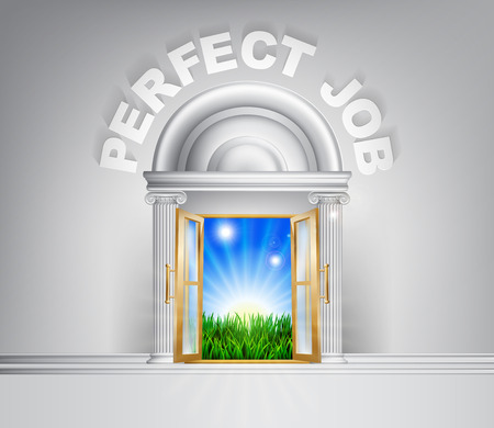 verdant: Perfect Job door concept. A conceptual illustration for a happy verdant future of a door opening onto a field of lush green grass