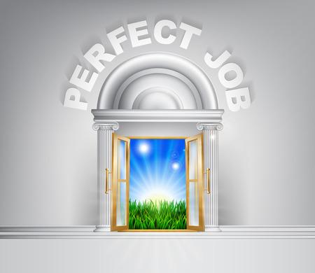 green door: Perfect Job door concept. A conceptual illustration for a happy verdant future of a door opening onto a field of lush green grass