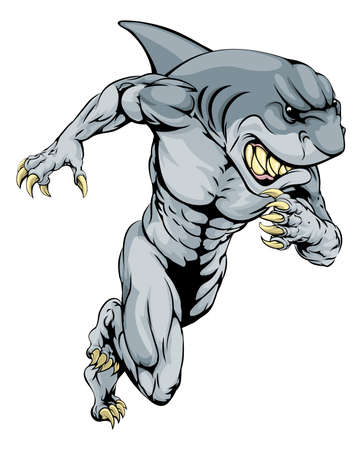 sharks: A shark man character or sports mascot charging, sprinting or running