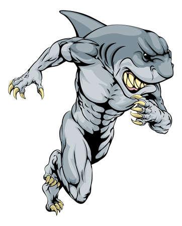tiburon caricatura: Una carga mascota tibur�n car�cter del hombre o los deportes, carreras de velocidad o correr