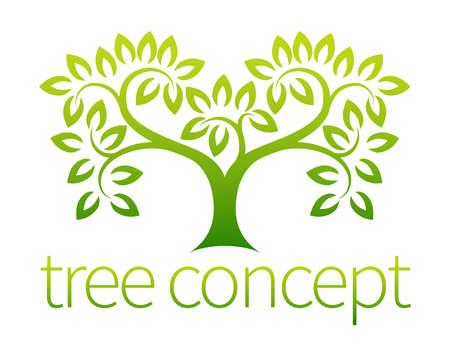 albero della vita: Simbolo Albero concetto di un albero stilizzato con foglie, si presta ad essere utilizzato con il testo Vettoriali