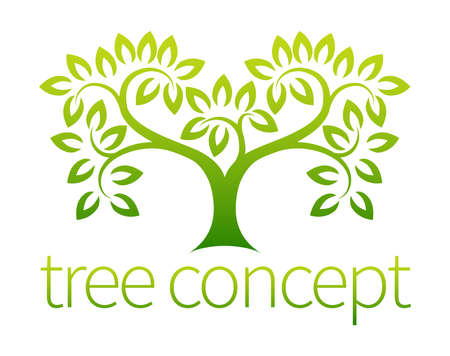 trunks: Tree symbol concept of a stylised tree with leaves, lends itself to being used with text Illustration