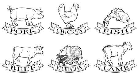 Carnicería: Un conjunto de etiquetas de los alimentos, iconos o ilustraciones del menú de cordero pollo de res de cerdo pescado y opciones vegetarianas