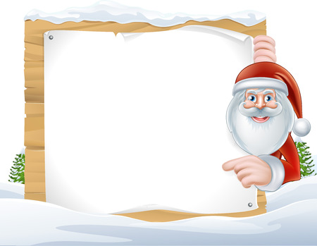 santaclause: Cartoon of Santa Claus pointing at a snow covered sign Illustration