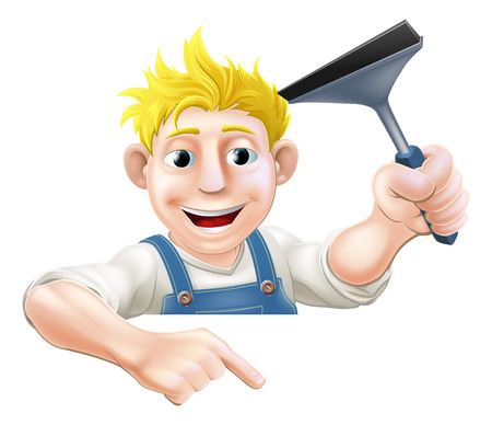 An illustration of a window cleaner holding a squeegee and pointing down at a sign or your message Vector
