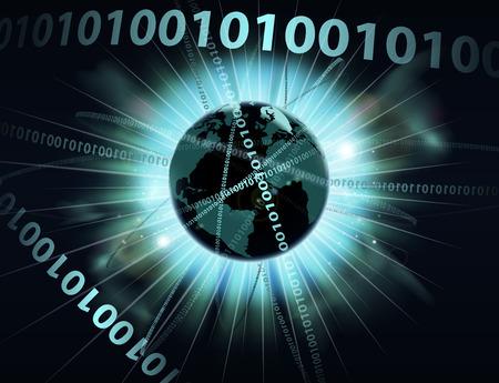 d data: An abstract concept binary computer information data globe