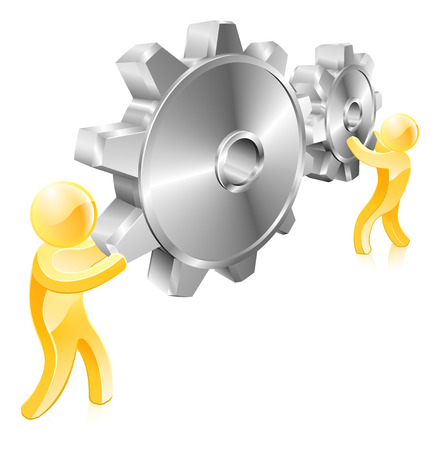 workings: Two men or mascot figures with giant machine cogs or gears