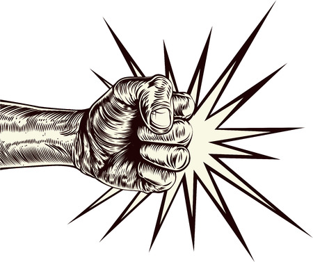 punched: An original illustration of a fist punching in a vintage wood cut style Illustration