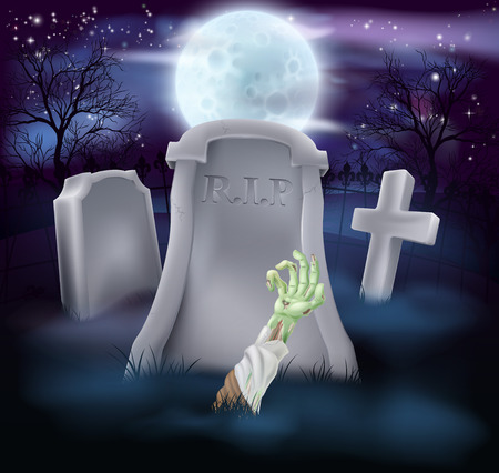 A spooky zombie grave Halloween illustration with full moon in the background