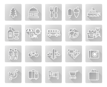 dining set: Travel and tourism icon set including icons for nightlife, museums, dining, beaches and may more
