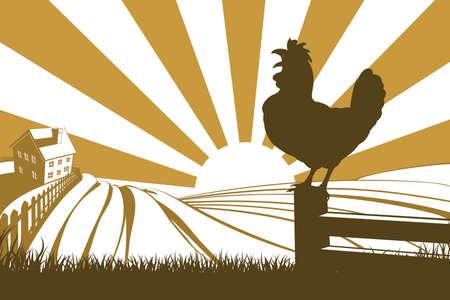 xilografia: Gallo Silueta gallo cacareando al amanecer con la salida del sol en el fondo y colinas de granja y granja