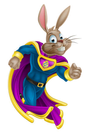 rabbits: A cute cartoon superhero Easter Bunny character running