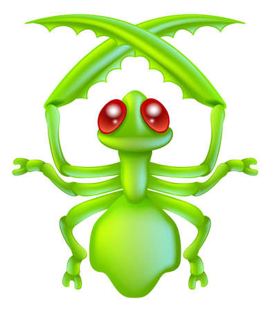 mantis: An illustration of a cartoon insect preying mantis bug character