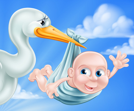 An illustration of a cartoon stork delivering a newborn baby. A classic metaphor for pregnancy or child birth Vector